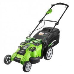 Fűnyíró fűgyűjtős, akkumulátoros Greenworks G40LM49DB 40v  49 cm vágószélesség, 60 l-es, akku és töltő nélkül
