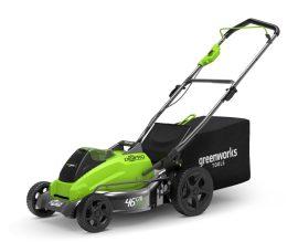 Fűnyíró fűgyűjtős, akkumulátoros Greenworks GD40LM45 40v 45 cm vágászélesség, 50l-es gyüjtő, akku és töltő nélkül